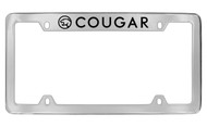 Mercury Cougar with Logo Top Engraved Chrome Plated Solid Brass License Plate Frame with Black Imprint