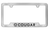Mercury Cougar with Logo Bottom Engraved Chrome Plated Solid Brass License Plate Frame