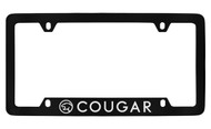Mercury Cougar with Logo Bottom Engraved Black Coated Zinc License Plate Frame with Silver Imprint