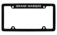 Mercury Grand Marquis Top Engraved Black Coated Zinc 4 Hole License Plate Frame with Silver Imprint