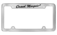 Mercury Grand Marquis Script Top Engraved Chrome Plated Solid Brass License Plate Frame with Black Imprint
