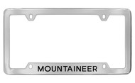 Mercury Mountaineer Bottom Engraved Chrome Plated Solid Brass License Plate Frame with Black Imprint