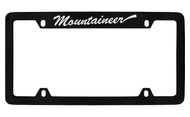 Mercury Mountaineer Script Top Engraved Black Coated Zinc 4 Hole License Plate Frame with Silver Imprint