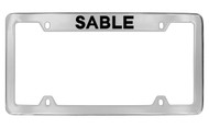 Mercury Sable Top Engraved Chrome Plated Solid Brass License Plate Frame with Black Imprint