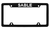 Mercury Sable Top Engraved Black Coated Zinc 4 Hole License Plate Frame with Silver Imprint