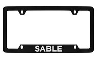 Mercury Sable Bottom Engraved Black Coated Zinc License Plate Frame with Silver Imprint