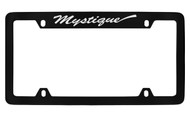 Mercury Mystique Script Top Engraved Black Coated Zinc 4 Hole License Plate Frame with Silver Imprint
