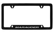 Mercury Marauder Bottom Engraved Black Coated Zinc License Plate Frame with Silver Imprint