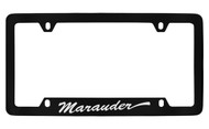 Mercury Marauder Script Bottom Engraved Black Coated Zinc 4 Hole License Plate Frame with Silver Imprint