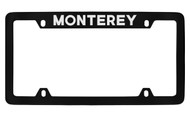 Mercury Monterey Top Engraved Black Coated Zinc 4 Hole License Plate Frame with Silver Imprint