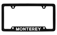 Mercury Monterey Bottom Engraved Black Coated Zinc License Plate Frame with Silver Imprint