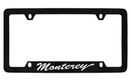 Mercury Monterey Script Bottom Engraved Black Coated Zinc 4 Hole License Plate Frame with Silver Imprint
