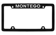 Mercury Montego Top Engraved Black Coated Zinc 4 Hole License Plate Frame with Silver Imprint