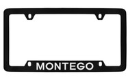 Mercury Montego Bottom Engraved Black Coated Zinc License Plate Frame with Silver Imprint