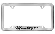 Mercury Montergo Script Top Engraved Chrome Plated Solid Brass License Plate Frame with Black Imprint