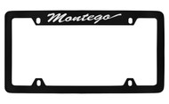 Mercury Montego Script Top Engraved Black Coated Zinc 4 Hole License Plate Frame with Silver Imprint