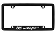 Mercury Montego Script Bottom Engraved Black Coated Zinc 4 Hole License Plate Frame with Silver Imprint