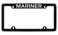Mercury Mariner Top Engraved Black Coated Zinc 4 Hole License Plate Frame with Silver Imprint