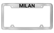 Mercury Milan Top Engraved Chrome Plated Solid Brass License Plate Frame with Black Imprint