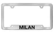 Mercury Milan Bottom Engraved Chrome Plated Solid Brass License Plate Frame with Black Imprint