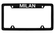 Mercury Milan Top Engraved Black Coated Zinc 4 Hole License Plate Frame with Silver Imprint