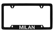 Mercury Milan Bottom Engraved Black Coated Zinc License Plate Frame with Silver Imprint