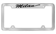 Mercury Milan Script Top Engraved Chrome Plated Solid Brass License Plate Frame with Black Imprint