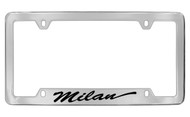 Mercury Milan Script Bottom Engraved Chrome Plated Solid Brass License Plate Frame with Black Imprint