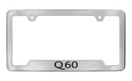Infiniti Q60 Bottom Engraved Chrome Plated Solid Brass License Plate Frame Holder with Black Imprint