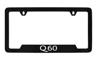 Infiniti Q60 Bottom Engraved Black Coated Zinc License Plate Frame Holder with Silver Imprint