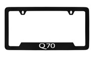 Infiniti Q70 Bottom Engraved Black Coated Zinc License Plate Frame Holder with Silver Imprint