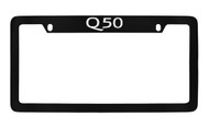 Infiniti Q50 Top Engraved Black Coated Zinc License Plate Frame Holder with Silver Imprint