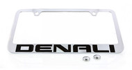 GMC Denali Xl License Plated Solid Brass Frame Holder with Black Imprint