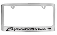 Ford Expedition Script Chrome Plated Solid Brass License Plate Frame Holder with Black Imprint