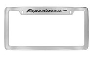 Ford Expedition Script Top Engraved Chrome Plated Solid Brass License Plate Frame Holder with Black Imprint