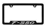 Ford F-350 Script Bottom Engraved Black Coated Zinc License Plate Frame Holder with Silver Imprint