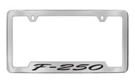 Ford F-250 Script Bottom Engraved Chrome Plated Solid Brass License Plate Frame Holder with Black Imprint