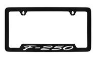 Ford F-250 Script Bottom Engraved Black Coated Zinc License Plate Frame Holder with Silver Imprint