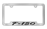 Ford F-150 Script Bottom Engraved Chrome Plated Solid Brass License Plate Frame Holder with Black Imprint
