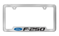 Ford F-250 with Logo Bottom Engraved Chrome Plated Solid Brass License Plate Frame Holder with Black Imprint
