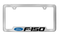 Ford F-150 with Logo Bottom Engraved Chrome Plated Solid Brass License Plate Frame Holder with Black Imprint