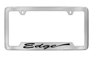 Ford Edge Script Bottom Engraved Chrome Plated Solid Brass License Plate Frame Holder with Black Imprint