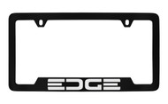 Ford Edge Bottom Engraved Black Coated Zinc License Plate Frame Holder with Silver Imprint