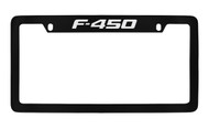 Ford F-450 Top Engraved Black Coated Zinc License Plate Frame Holder with Silver Imprint