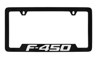 Ford F-450 Bottom Engraved Black Coated Zinc License Plate Frame Holder with Silver Imprint