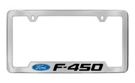 Ford F-450 with Logo Bottom Engraved Chrome Plated Solid Brass License Plate Frame Holder with Black Imprint