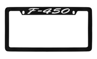 Ford F-450 Script Top Engraved Black Coated Zinc License Plate Frame Holder with Silver Imprint