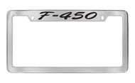 Ford F-450 Script Top Engraved Chrome Plated Solid Brass License Plate Frame Holder with Black Imprint