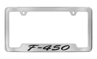 Ford F-450 Script Bottom Engraved Chrome Plated Solid Brass License Plate Frame Holder with Black Imprint