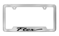 Ford Flex Script Bottom Engraved Chrome Plated Solid Brass License Plate Frame Holder with Black Imprint